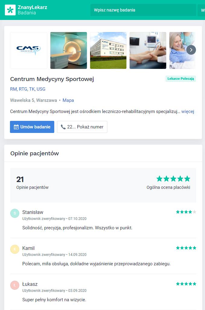 CMS w serwisie ZnanyLekarz.pl